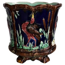 Antique Thomas Forester Majolica ~ Heron Jardiniere Cachepot