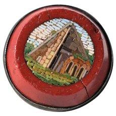 Small Antique Micro Mosaic Button Pyramid