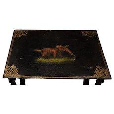 Antique Papier Mâché Stacking Table ~ Hunting Irish Setter Dog