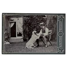 Antique Cabinet Photograph ~ Boy & His Dog