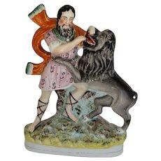 "C1860 Large 13"" Staffordshire Samson and Lion Figure"