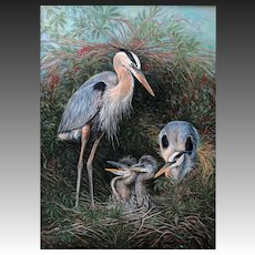 Large Oil Painting ~ Great Blue Heron Family
