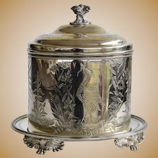 Victorian Antique Silver Plated Biscuit Box ~ With Herons, Reeds, Flowers