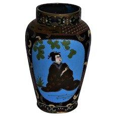 Large Antique Meiji Period Cloisonne Vase With Butterflies & Geisha