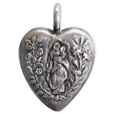 Antique 19C French Convent Ex Voto Silver Sacred Heart