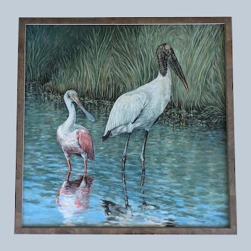 Large Oil Painting ~ Wood Stork & Roseate Spoonbill At Celery Fields