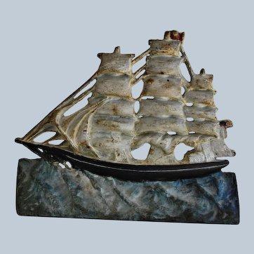 Antique Cast Iron Doorstop ~ Clipper Ship