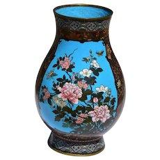 Large Antique Meiji Period Cloisonne Vase With Tigers/Leopards, Flowers & Butterflies