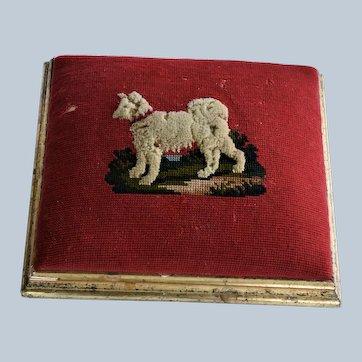 Victorian Needlework Footstool ~ Samoyed Dog