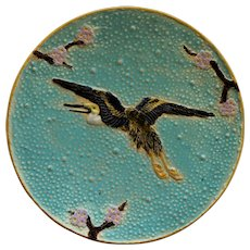 C1880 Victorian Majolica Flying Heron Plate By Joseph Holdcroft
