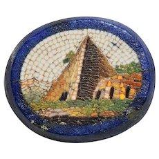 Antique Micro Mosaic Micromosaic Lapis Plaque Pyramid
