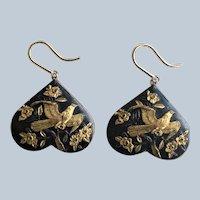Antique Meiji Era Japanese Shakudo Hawk Eagle Earrings