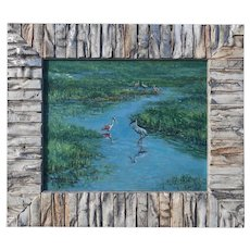 Small Oil Painting ~ Wood Stork & Roseate Spoonbill At Celery Fields