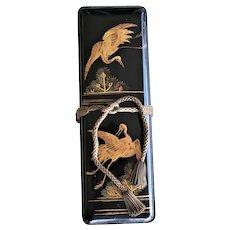 Meiji Era Black Lacquer Japanese Document Fubako Box ~ Dancing Cranes