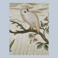 Antique Silk Needlework  ~ Owl With Glass Eyes