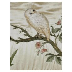 Antique Silk Needlework  ~ Owl With Glass Eyes