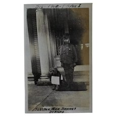 WW1 British Photograph ~ Boy & His Dog Selling War Stamps