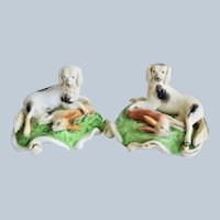 Pair Antique Staffordshire Dogs with Hares C1860
