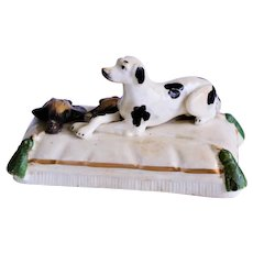 Antique Staffordshire Hound Dog with Game C1860