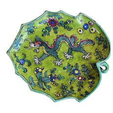 19C Antique Chinese Saucer ~ Five Clawed Dragon