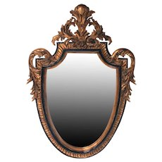 Hollywood Regency Carved Wood Shield Mirror
