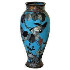 Antique Japanese Meiji Period Cloisonne Vase with Bird & Flowers