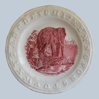 "C1860 Antique Staffordshire ABC Plate  ""A Fishing Elephant"""
