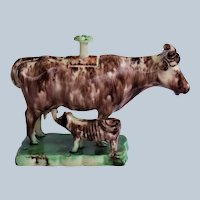 C1760 Staffordshire Cow Creamer With Calf ~ Whieldon Type