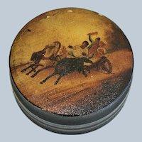 Large Antique Papier Mache Snuff Box ~ Horses Pulling a Chariot
