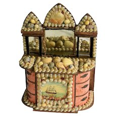 Antique 19C Miniature Seashell Shell Dresser Box