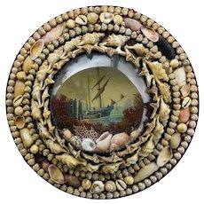 Victorian Shell Art Diorama Maritime Scene ~ Sailors Valentine Shell Art