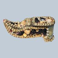 Antique 19C Miniature Seashell Shell Shoe Box ~ Sailor's Valentine