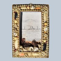 """Antique 19C Seashell Frame """"Remember The Maine"""""""