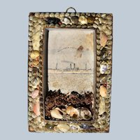 """Antique 19C Seashell Frame """"Remember The Maine"""" #2"""