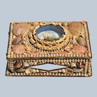 "Victorian Shell Art Diorama Maritime Scene ~ Large 10 1/2"" Sailors Valentine Box"