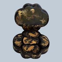 Meiji Era Lacquer Japanese Box Set ~ Crane, Swimming Carp & Foliage