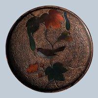 Antique Meiji Era Japanese Cloisonne Tree Bark Charger