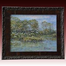 Small Oil Painting ~ Venice Audubon Rookery