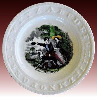 "C1860 Antique Staffordshire ABC Plate ~ ""Catch It Carlo"" Dog"