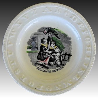 """Pearlware ABC Plate ~ """"Pretty Poll"""" Parrot With Begging Dog"""