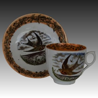 Antique Victorian Staffordshire Cup & Saucer ~ Swallow With Olive Branch