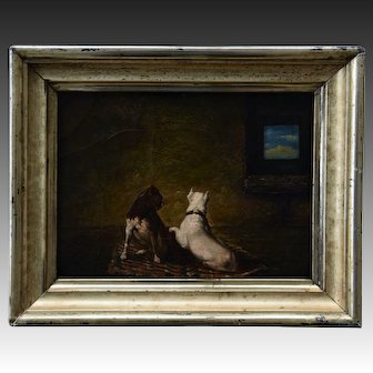Small Antique French Oil Painting ~ Pair of Recumbent Terrier Dogs