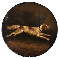Victorian Hand Painted Papier-Mâché Snuff Box ~ Running Dog