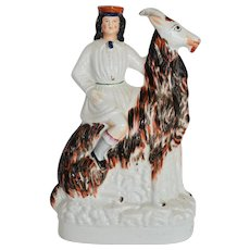 C1860 Victorian Staffordshire Figure ~ Child Riding Large Goat