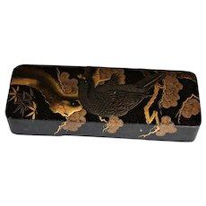 Meiji Era Black Lacquer Japanese Document Fubako Box ~ Hawk Perched On Tree