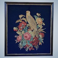 Large Antique Victorian Needlework ~ Falcon With Flowers
