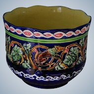 """Antique French Majolica Jardinière ~ Aesop's Fables """"The Fox And The Grapes"""""""