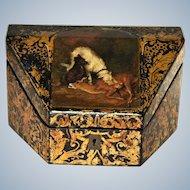 Victorian Antique Papier Mache Stationery Box ~  Wolfhound & Scottie Dog