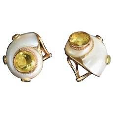 Maz 14k Seashell Earrings With Peridot & Citrine