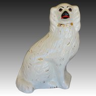 Antique Staffordshire Spaniel Dog With Glass Eyes